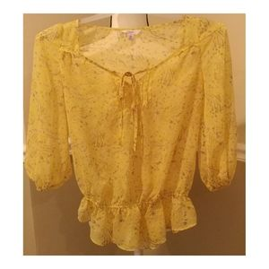 Candies Yellow Sheer Tie Lace Blouse XS